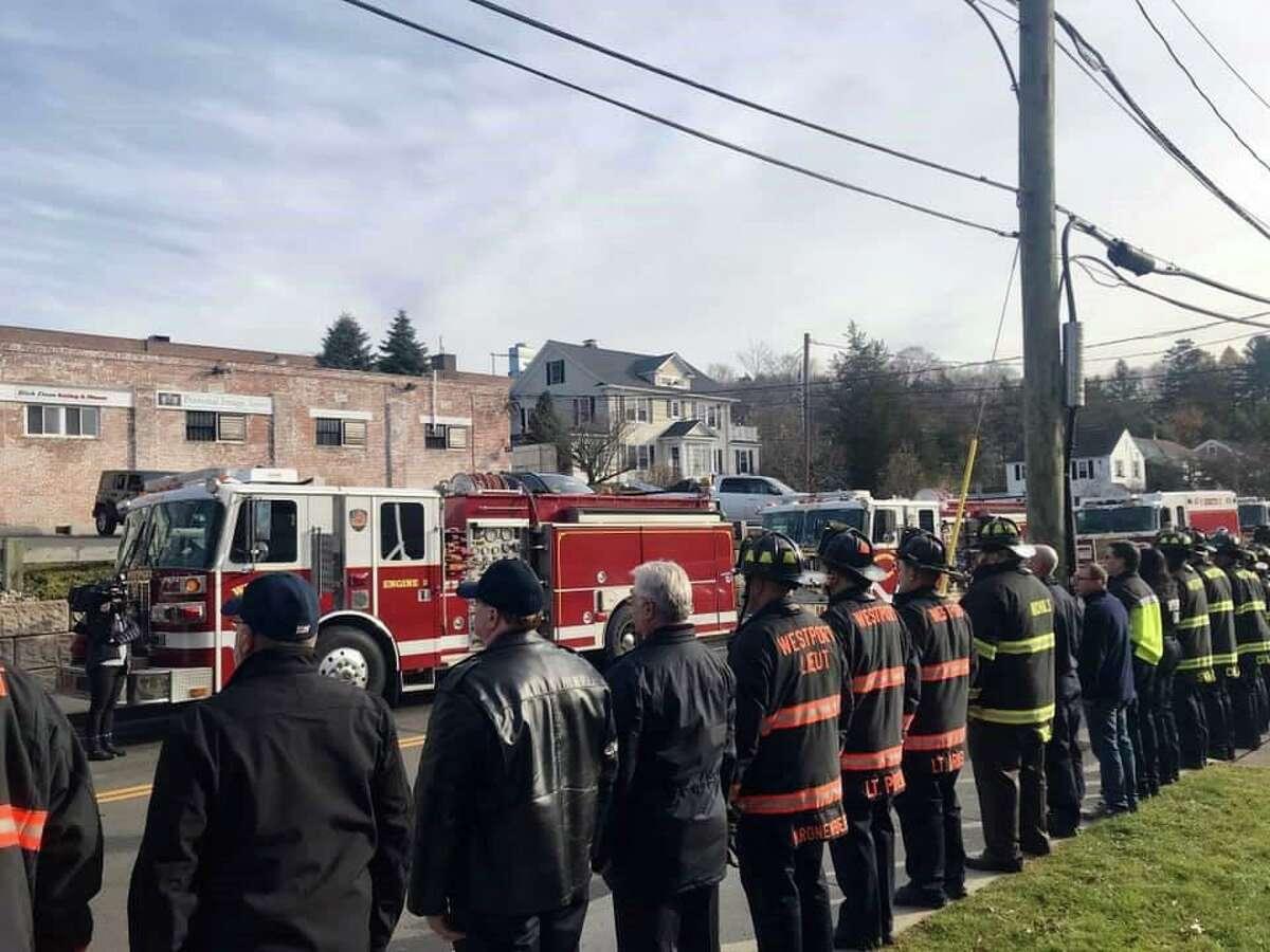 Westport's Fire Departmet alongside other Fire Departments lined Interstate 95 on Nov. 23 in tribute to Westport Firefighter Turk Aksoy.
