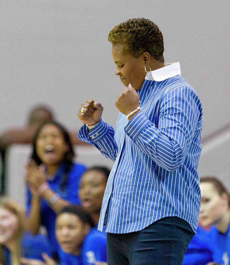 Clear Springs head coach Pam Crawford watched her team hold off Galena Park North Shore for a 53-39 win Monday at Clear Springs High School. Photo: Jason Fochtman / Jason Fochtman