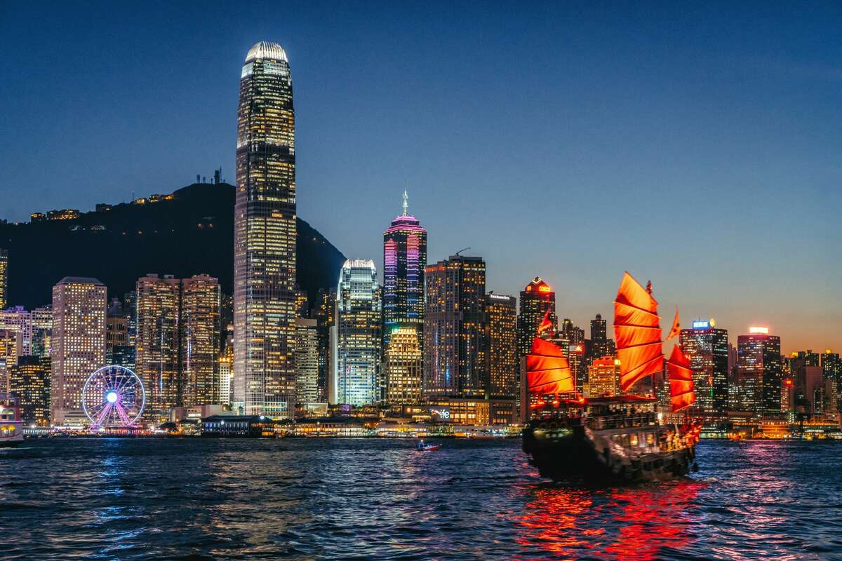 Junkboat of Hong Kong at night.