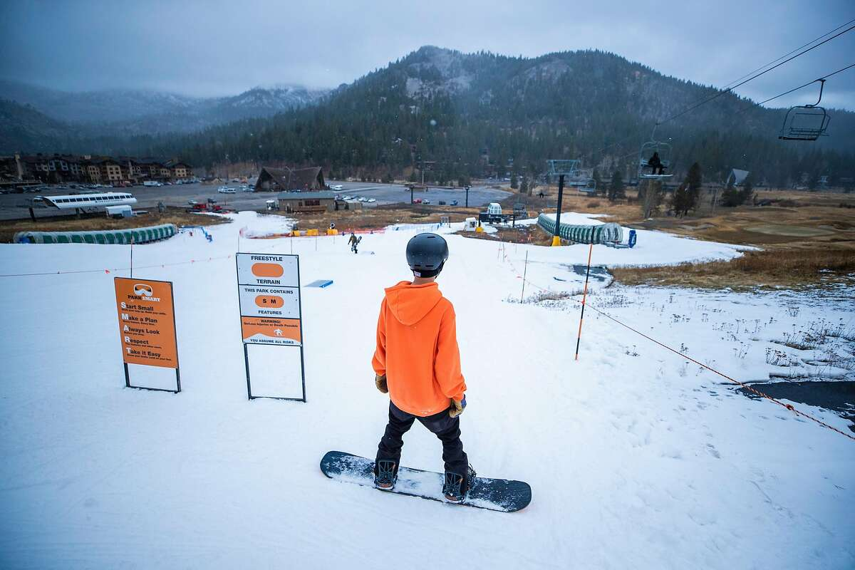 Skiers enjoy the the terrain park at at SnoVentures Activity Zone at Squaw Valley in Alpine Meadows, CA on November 20, 2019.