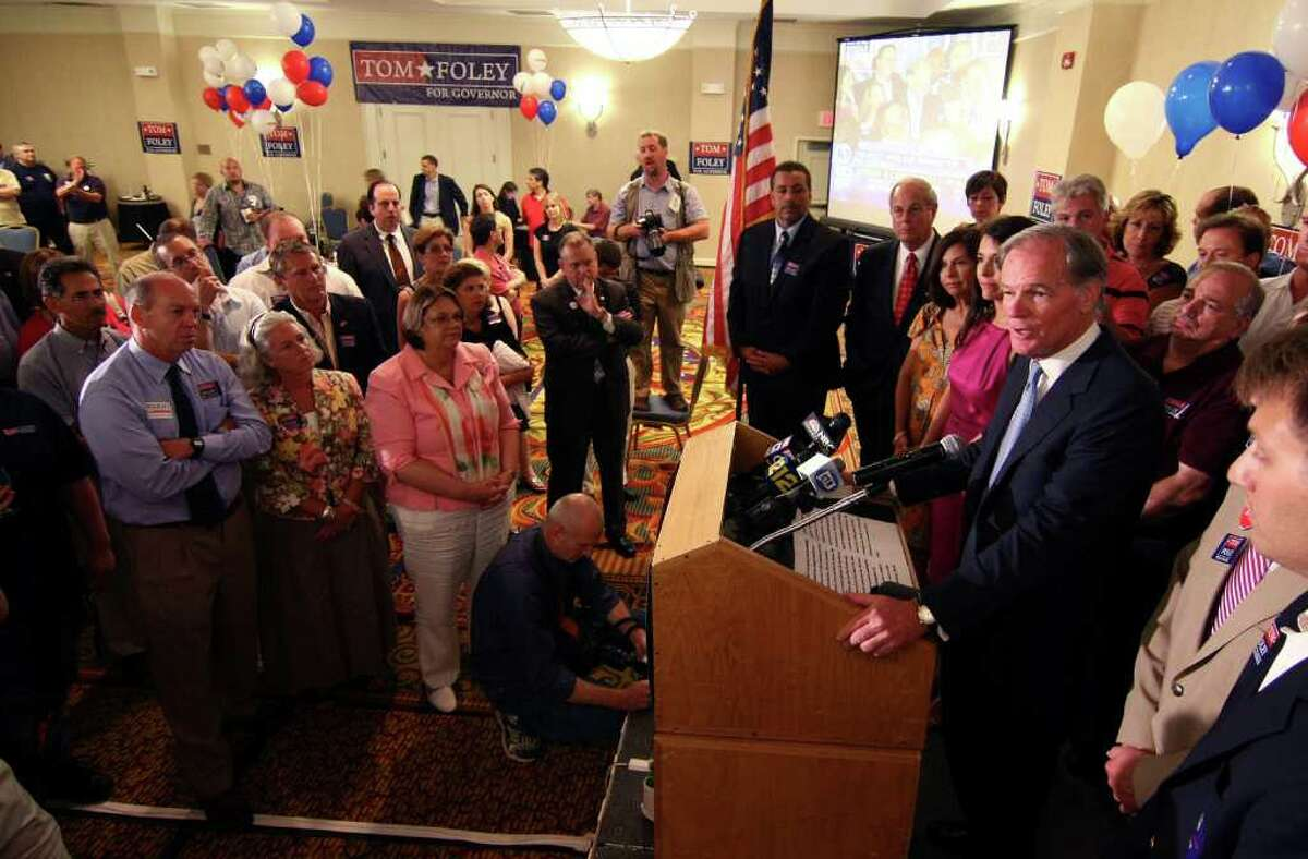 Tom Foley, Republican candidate for Governor of Connecticut, gives his victory speech to staff and supporters at the primary election day party at the Mariott Hotel in Rocky Hill, Conn. on Tuesday August 10, 2010.