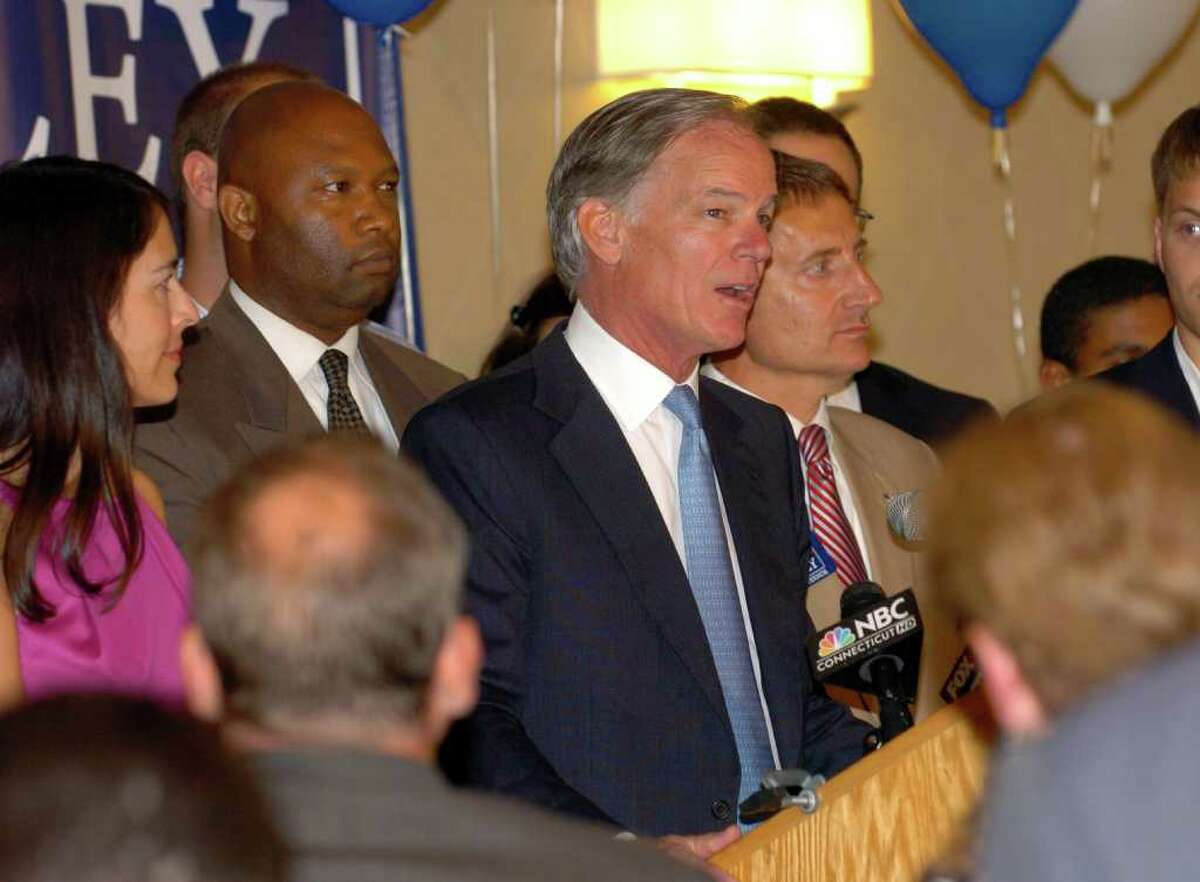 Tom Foley gives his victory speech after winning the Republican primary election, during a party at the Mariott Hotel in Rocky Hill, Conn. on Tuesday August 10, 2010.