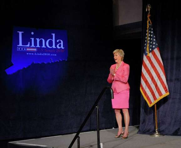 Republican candidate for the Senate Linda McMahon, celebrates her victory in the republican primary for U.S. Senate, Tuesday evening, August 10, 2010, at the Crowne Plaza Hotel, Cromwell, Connecticut. Photo: Bob Luckey / Greenwich Time