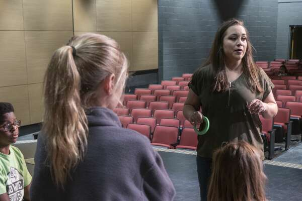 Davina Fangman works with her theater students 10/25/19 at Bowie Fine Arts Academy. Tim Fischer/Reporter-Telegram