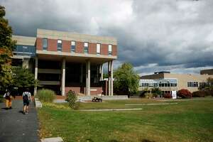 Hampshire College's Harold F. Johnson Library, left, and the neighboring Robert Crown Center.