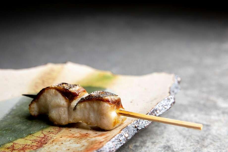 Kurodai (black sea bream, konbu - jime, sakura salt) at Hina Yakitori on Saturday, Nov. 16, 2019, in San Francisco, Calif. The yakitori restaurant is located at 808 Divisadero St. Photo: Santiago Mejia, The Chronicle