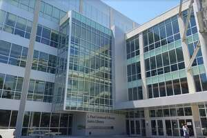 The J. Paul Leonard Library at San Francisco State University, where campus officials reported police activity was held on Monday.