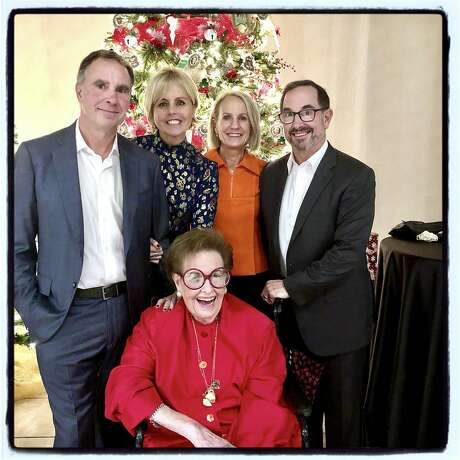 Philanthropist Yvonne Sangiacomo (seated) and her family Sandro (left) and Jeanne Sangiacomo, and Gerry and James Sangiacomo at Little Sisters of the Poor Holiday Bazaar. Nov. 21, 2019. Photo: Catherine Bigelow / Special To The Chronicle