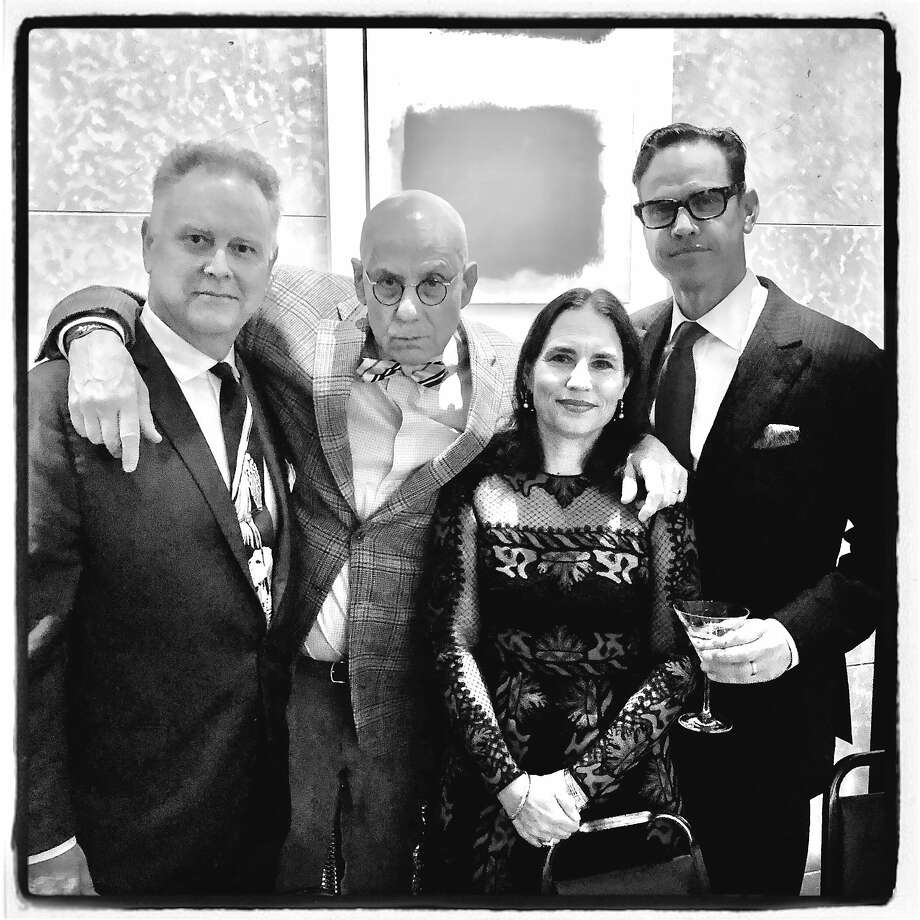 Noir Czar Eddie Muller (left), author James Ellroy, Nicola Miner and her husband, Robert Mailer Anderson, at a film noir fundraiser. Photo: Catherine Bigelow / Special To The Chronicle