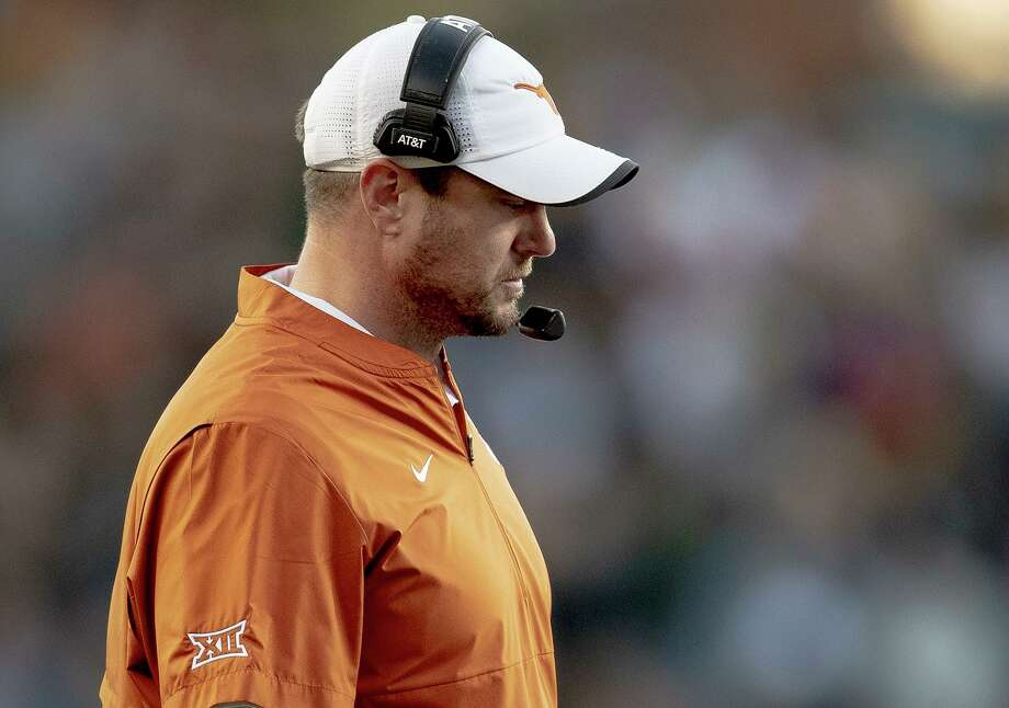 Texas head coach Tom Herman walks the sideline during an NCAA college football game against Baylor, Saturday, Nov. 23, 2019, in Waco, Texas. (Nick Wagner/Austin American-Statesman via AP) Photo: Nick Wagner, MBO / Associated Press / Austin American-Statesman