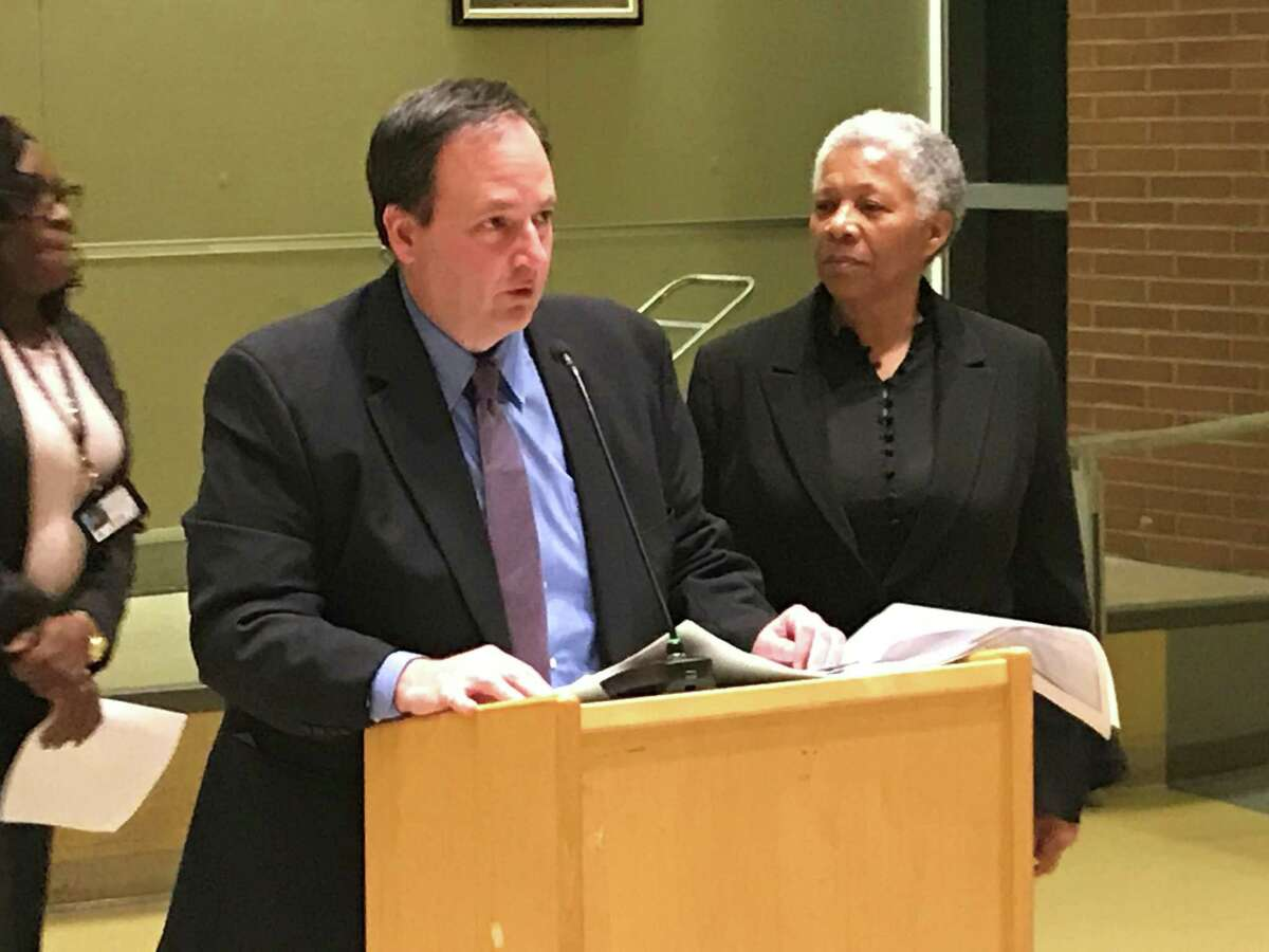 New Haven Public Schools CFO Phil Penn and Interim Superintendent of Schools Iline Tracey