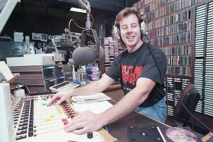 """KLOL Outlaw disc jockey, Grego, who goes all out to involve his audience, says of the new Outlaw Radio format: """"It breaks all the rules."""" Photographed on Nov. 14, 1989."""