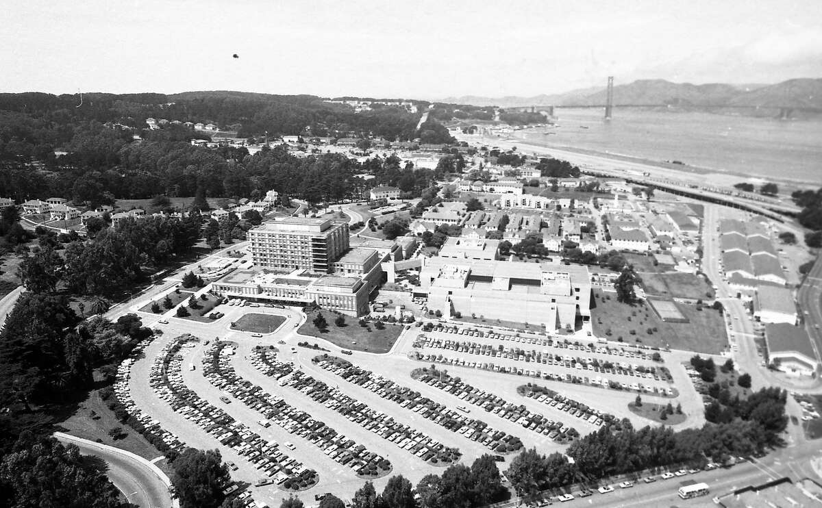 Aerial view of Letterman Army Hospital at the Presidio, April 25, 1978.