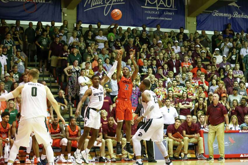 LAHAINA, HI - NOVEMBER 25: Landers Nolley II #2 of the Virginia Tech Hokies follows his shot late in the second half that would seal the victory over the Michigan State Spartans at the Lahaina Civic Center on November 25, 2019 in Lahaina, Hawaii. (Photo by Darryl Oumi/Getty Images)