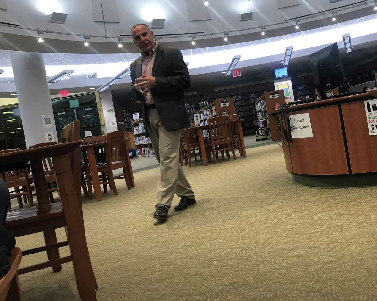 Joseph Erardi, of JE Consulting, held a community forum in Staples High School's library on Monday to discuss the superintendent search. Taken Nov. 25, 2019 in Westport, Conn.
