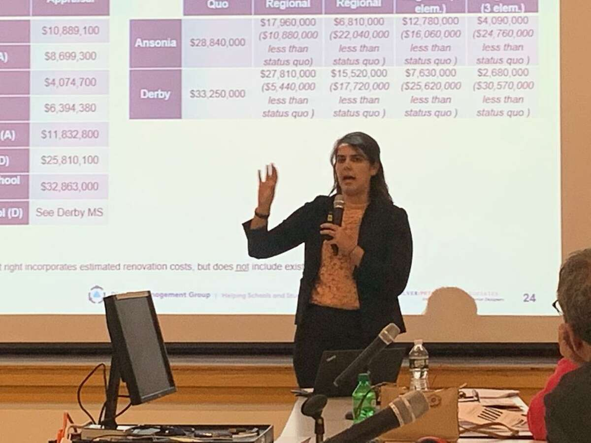 Simone Carpenter, a seniors assistant with the District Management Group of Boston, outlines some of the findings favoring regionalization to the Ansonia Derby Temporary School Regionalization Study Committee during their meeting Monday night