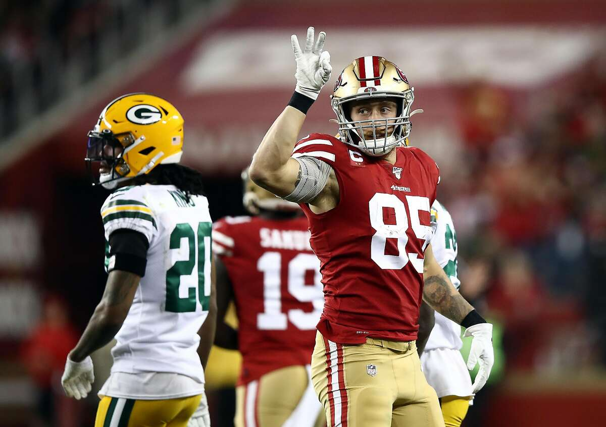 Tight end George Kittle #85 of the San Francisco 49ers reacts after a first down during the first half of the game against the Green Bay Packers at Levi's Stadium on November 24, 2019 in Santa Clara, California. (Photo by Ezra Shaw/Getty Images)