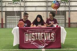 Maegan Bazan signs her National Letter of Intent to play for TAMIU.