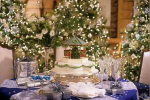 Trudy Dujardin, owner of interior design firm Dujardin Design, with offices in Westport and Nantucket, created this spectacular holiday table, which blends elements of both Hanukkah and Christmas.