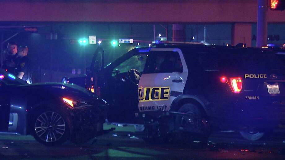 One woman was arrested after allegedly crashing into a SAPD patrol car. Photo: Ken Branca