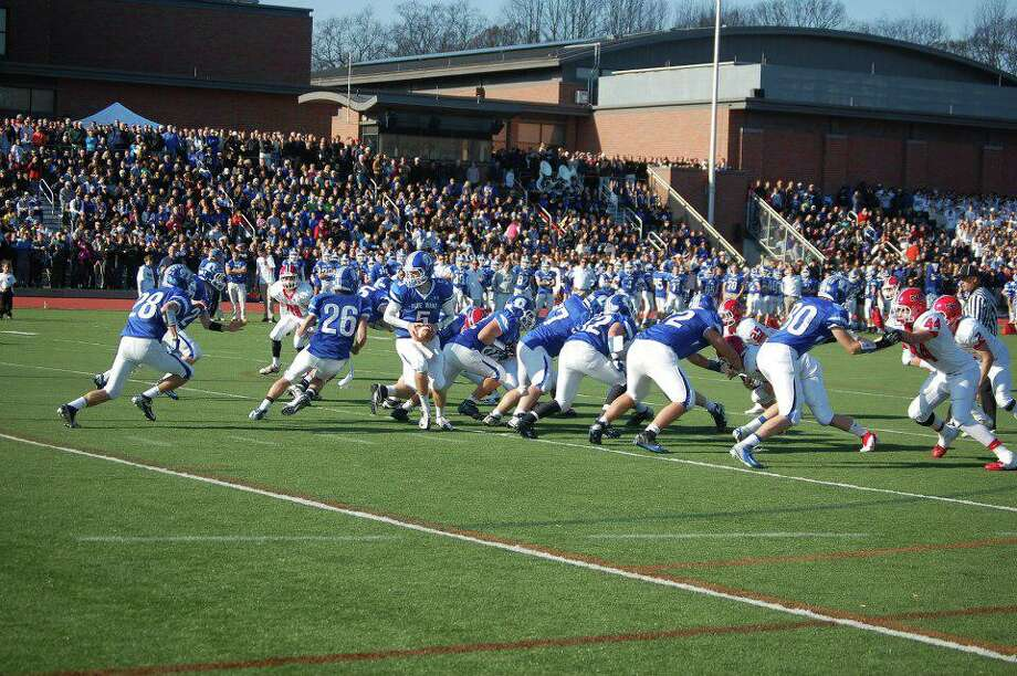 A scene from the last time the Turkey Bowl was played at Darien High School in 2012. Photo: Darien High School