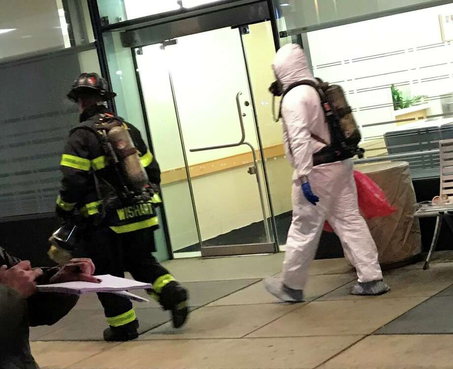"""Police and firefighters responded to Yale New Haven Hospital Monday night after a man with a towel yelled """"chemical warfare"""" while behaving irrationally. The incident began unfolding at around 10 p.m. on Nov. 25, 2019 when a man with a backpack entered the hospital and asked to see a supervisor, reports said. He then drew a towel out of the backpack and yelled """"chemical warfare"""" while throwing it, officials said. Photo: Contributed Photo"""