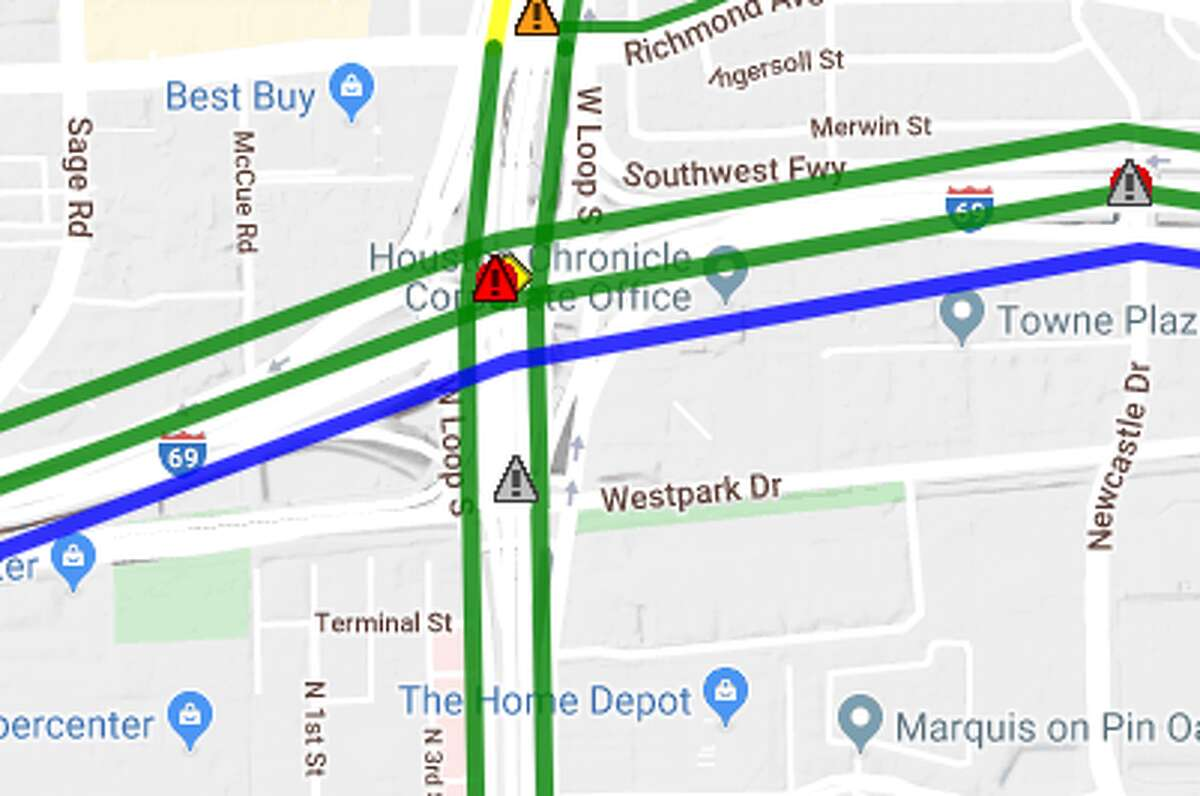 H-69 Southwest Southbound Frontage Road from IH-610 West Loop to South Rice Total Closure Closed until further notice Detour : (Drivers) continue on IH 610 West Loop Southbound Frontage Road. Turn right (West) onto Westpark Drive. Turn right (North) onto S. Rice Avenue. Detour can continue through onto S. Rice Avenue or turn left (West) onto IH 69 Southwest Freeway Southbound Frontage Road.