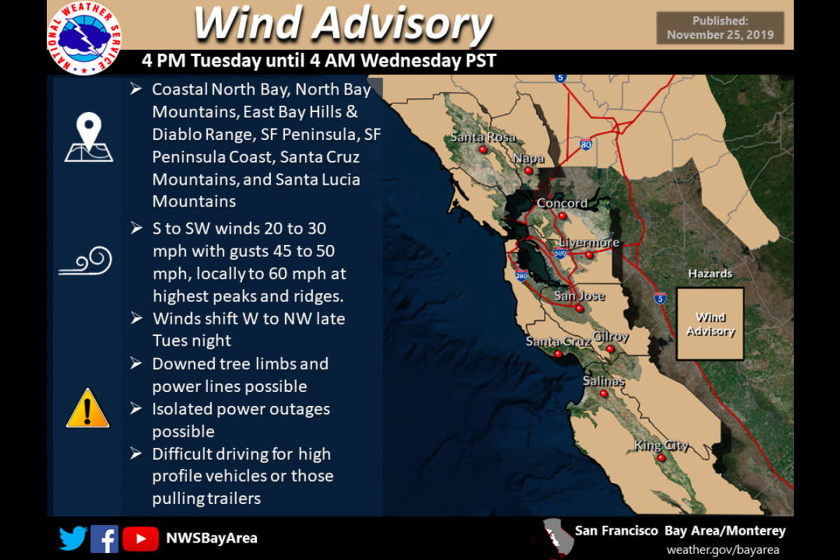 Winds will be gusty in the Bay Area hills and mountains.