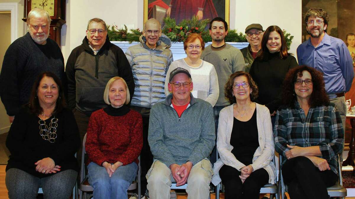 The Board of Trustees of the New Milford Historical Society recently voted in its president, Joe Cats. The board is made up of, from left to right, in front, Pat Hembrook, treasurer, Kathy Kelly-Koch, first vice president, Joe Cats, president, Anita Regan, secretary and Loretta Kretchko, second vice president, and in back, Board of Trustees, Norm Cummings, Bob Coppola, David Cohen, Susan Bradbury, Justin Krul, Greg Regan, Lisa Roush (curator) and Greg Van Antwerp.