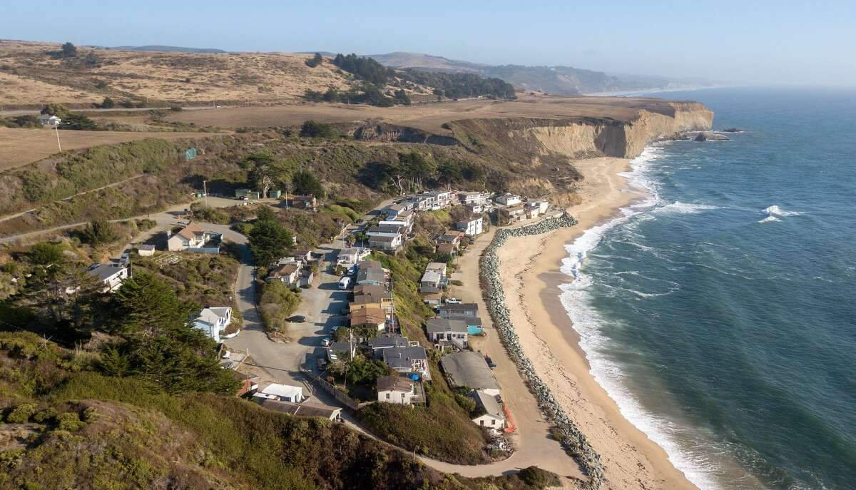 In this aerial photo, Martin's Beach is seen in Half Moon Bay, California on September 19, 2018.