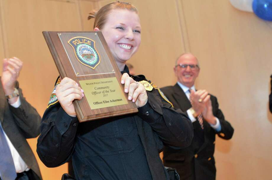 Wilton Police Officer Elise Ackerman was named 2017 Community Officer of the Year by the Wilton Police Department. She has now been assigned as a School Resource Officer. Photo: Alex Von Kleydorff / Hearst Connecticut Media / Norwalk Hour