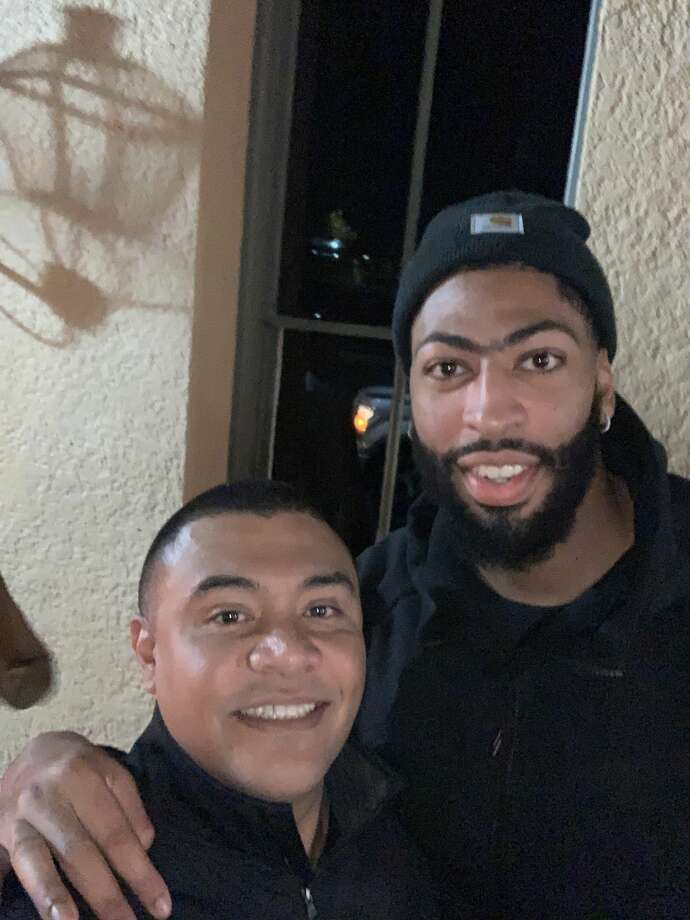 Los Angeles Laker Anthony Davis with Ash owner Adrian Martinez on Nov. 26, 2019 during a team after-party hosted by the venue. Photo: Courtesy,  Adrian Martinez