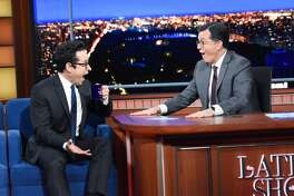 NEW YORK - NOVEMBER 25: The Late Show with Stephen Colbert and guest J.J. Abrams during Monday's November 25, 2019 show. (Photo by Scott Kowalchyk/CBS via Getty Images)