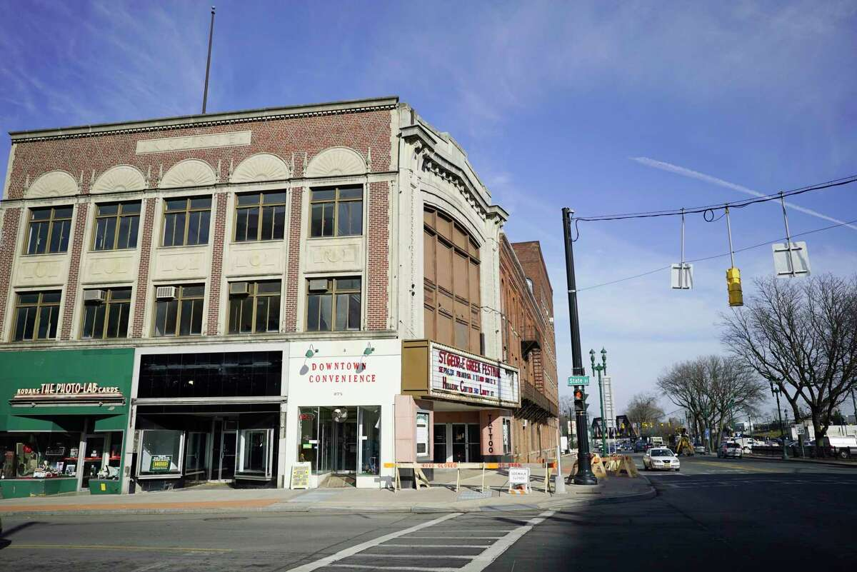 A view of the Wedgeway Professional Building at the corner of State Street and Erie Boulevard on Tuesday, Nov. 26, 2019, in Schenectady, N.Y. Bricks have been falling from the building and the city has closed the sidewalk on one side of the building for safety reasons. (Paul Buckowski/Times Union)