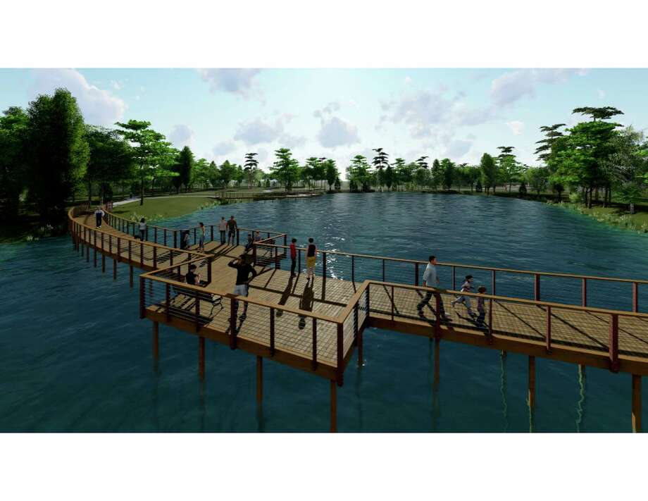 Atascocita Park is in construction currently costing $5.5 million with an estimated opening in early 2020. The boardwalk will offer views of the pond in the park. Photo: Courtesy / Courtesy