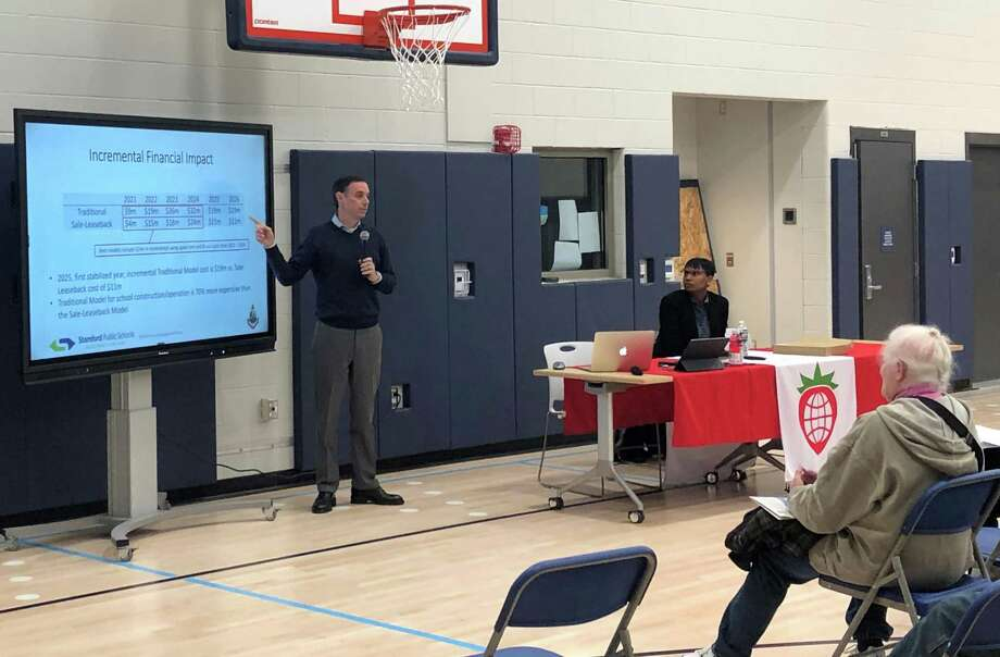 Stamford City Director of Administration Mike Handler and Superintendent of Schools Tamu Lucero presented a public private partnership plan for school facilities at Strawberry Hill School the night of Nov. 25. Photo: Contributed Photo / Westport News contributed