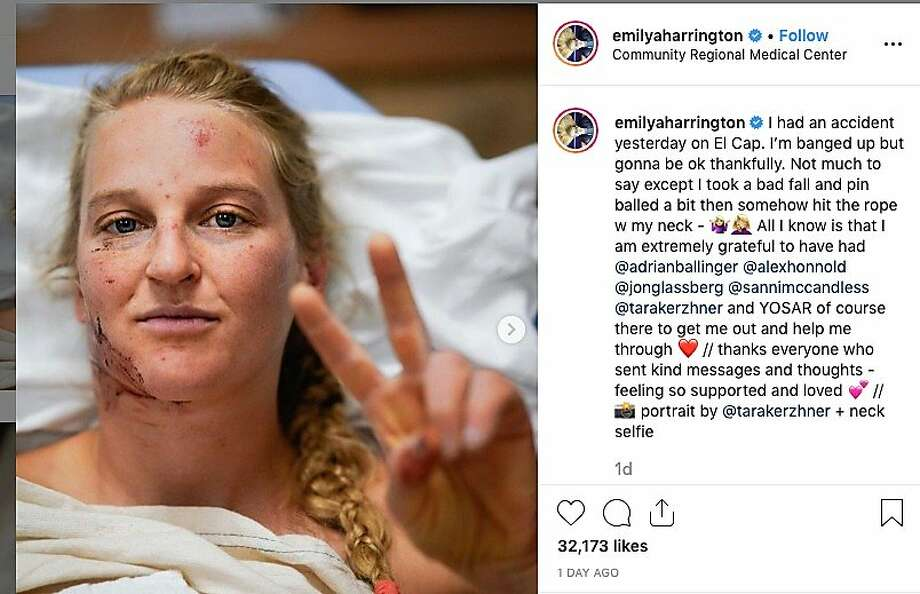 """Emily Harrington, a 33-year-old world-class climber, held up a peace sign in a photo posted to Instagram from her hospital bed at the Community Regional Medical Center in Fresno and said she was """"extremely grateful"""" for those who helped her """"get out."""" She fell while climbing Yosemite's El Capitan. Photo: Emily Harrington / Instagram"""