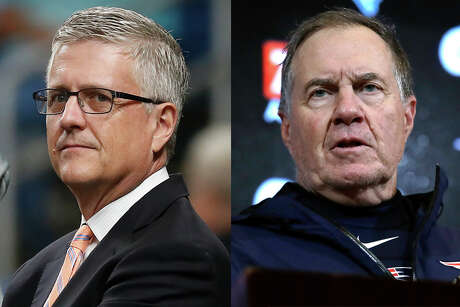 Astros GM Jeff Luhnow (left) is the villain de jour in the eyes of most baseball fans outside of Houston. Patriots coach Bill Belichick is all too familiar with being loathed by other fan bases.