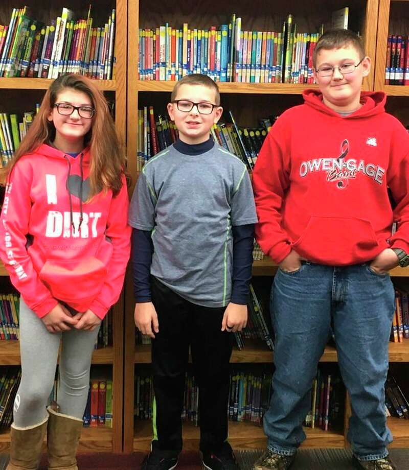 Pictured are the National Geography Bee winners JoAnn Baker, second place; Lucas McKnight, first place and Isaac Miller, third place. (Submitted Photo)
