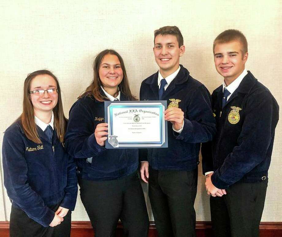 The poultry evaluation team received a National Silver Team Award (19th) and was comprised of team members Nicholas Craig, Austin Kramer, Autumn Tait and Kaylynn Stanton. (Submitted Photo)