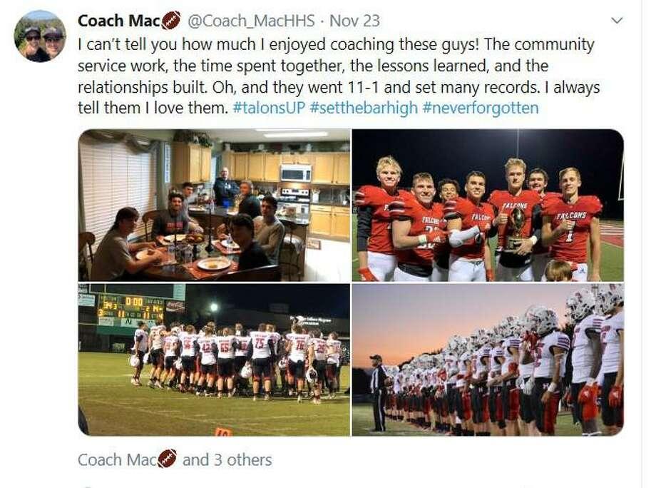 """Mike """"Mac"""" McEachern was the coach of the 2019 Hargrave Falcon football team Photo: @Coach_MacHHS Twitter"""