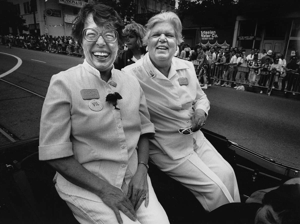 Phyllis Lyons and Del Martin, grand marshals of the Gay Freedom Day Parade and founders of the pioneering lesbian organization the Daughters of Bilitis on the 20th anniversary of the Stonewall riots. 06/25/1989 oursfmag_martin Gay Rights Project