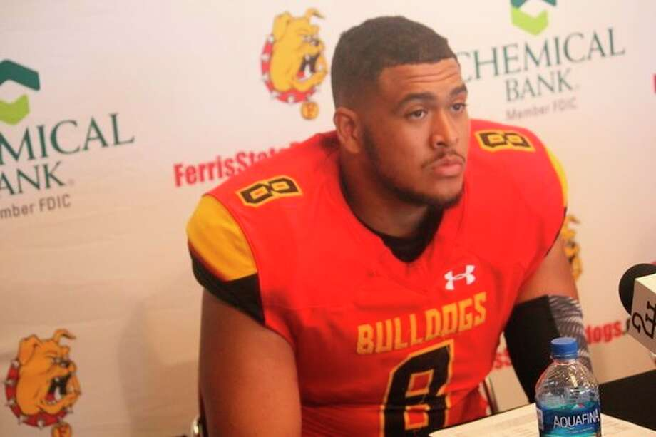 Austin Edwards answers questions during a press conference earlier this season. (Pioneer file photo)