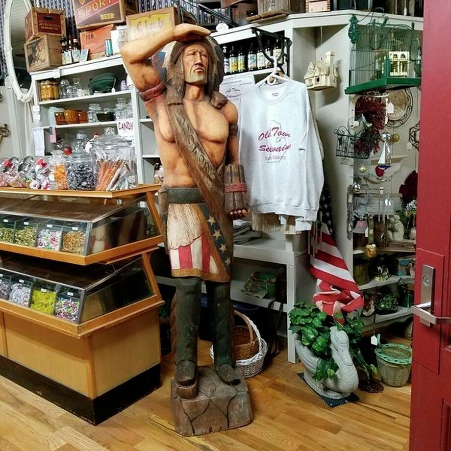 Because inventory is constantly changing at the Cornerstone Venture LLC and Sportsman's Haven Museum, there is always something new to see or buy, like this wooden Native American. (Submitted photo)