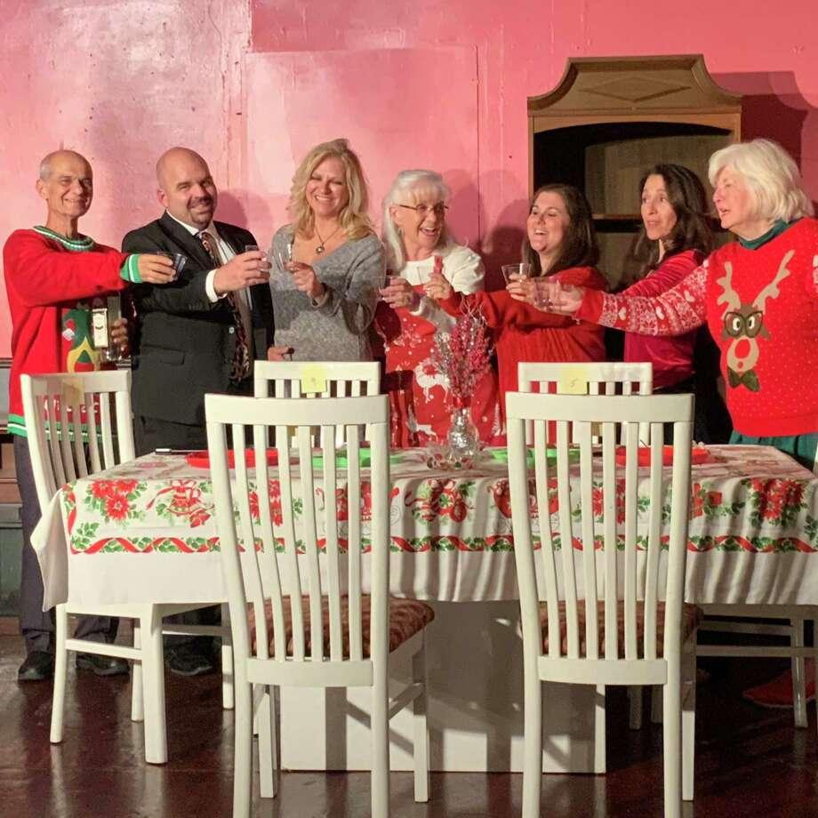 "Dinner Theatre at Franca's production of ""A Nice Family Christmas"" features John Lofaro, left, Steve Walker, Melody Billings, Donna Bane, Catherine Lofaro Rangel, Linda Burton, Dianne Foussac"