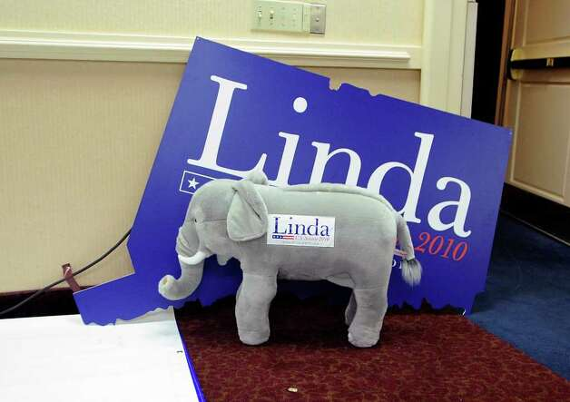 A stuffed elephant and a Linda poster in a conference room at the Crowne Plaza Hotel, Cromwell, where Linda McMahon captured the republican primary for U.S. Seante, august, 10, 2010. Photo: Bob Luckey