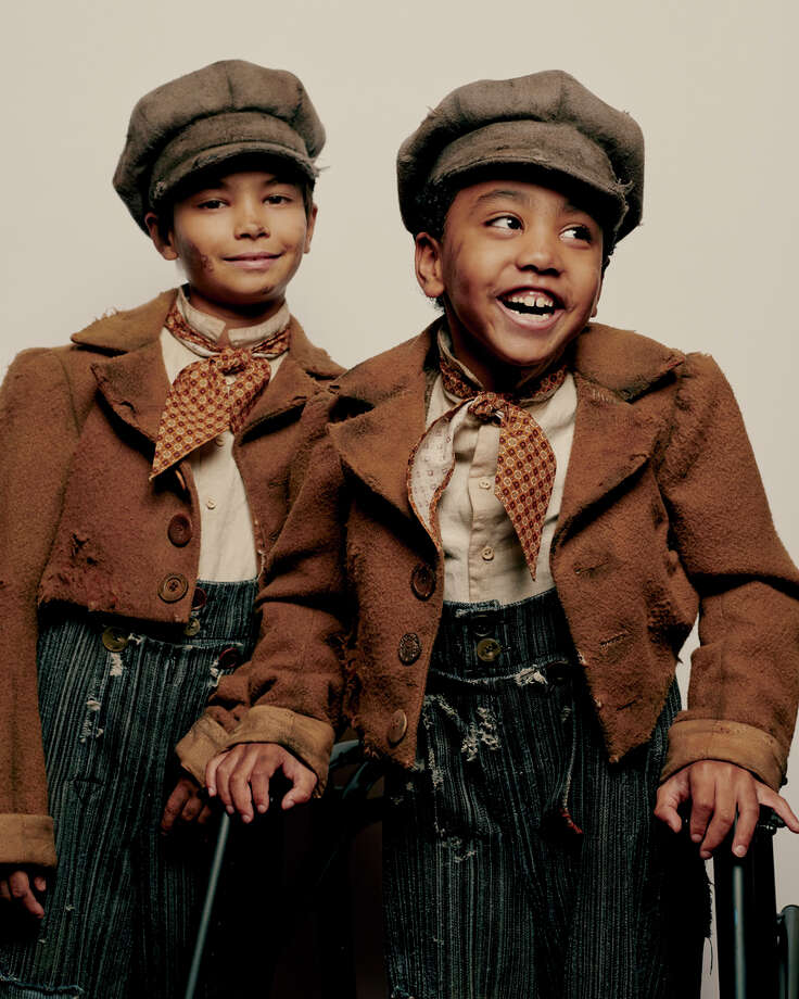 """Jai Ram Srinivasan, left, and Sebastian Ortiz, who alternate in the role of Tiny Tim in a new production of """"A Christmas Carol,"""" at the Lyceum Theater in New York, Nov. 5, 2019. The Broadway production, following the lead from London, concluded a child with a disability should portray the role. (Vincent Tullo/The New York Times) Photo: VINCENT TULLO / NYTNS"""