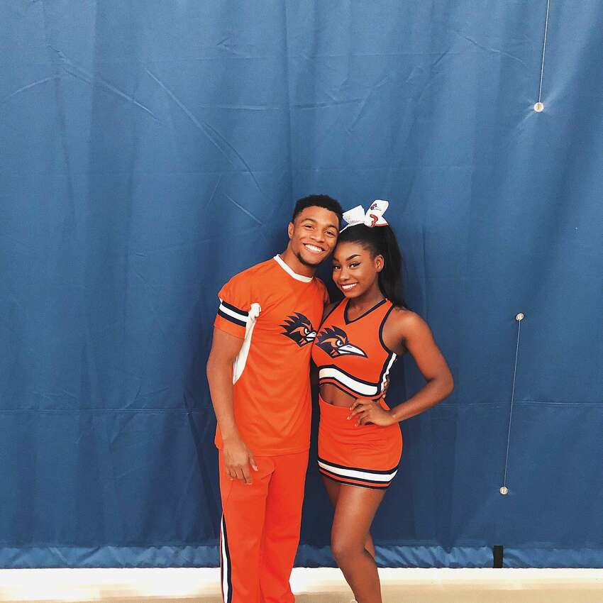 The 'super human' UTSA cheerleader who completed a 100-yard tumbling pass Tyriq Kuykendall, left, is seen in the photo with one of his teammates. In November, the University of Texas-San Antonio Cheerleader tumbled his way 100 yards in a video that has become viral. Read more here.