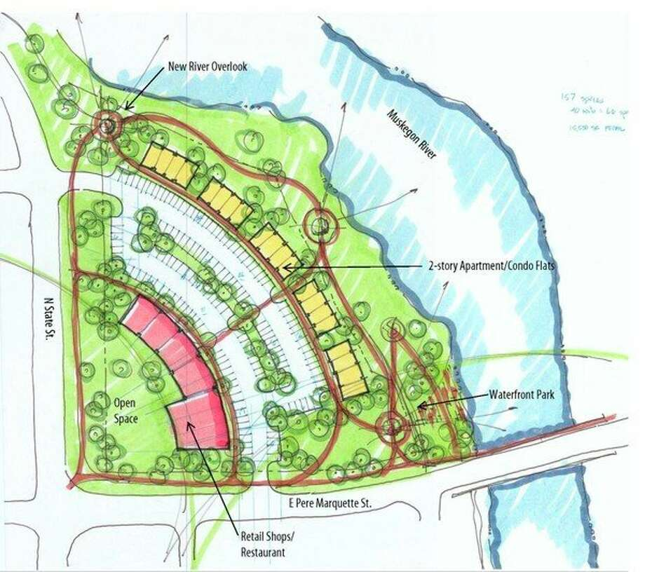 Featured is one of the design concepts created by the SmithGroup, an architectural, engineering and planning firm. According to Big Rapids Director of Neighborhood Services Paula Priebe, the image isone of a few ideas of how the old Hanchett property could look. (Courtesy photo)