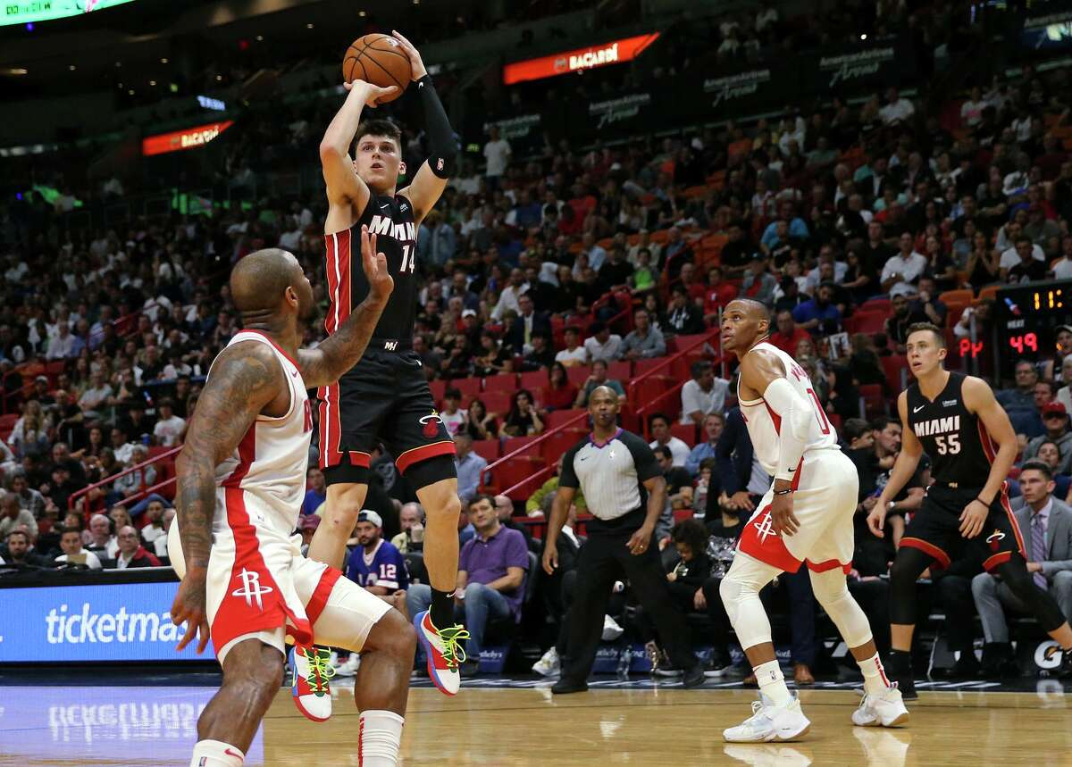 It all came very easily for the Heat and guard Tyler Herro (14) on Nov. 3 when they jumped to a 26-4 lead over the Rockets en route to a 129-100 victory.